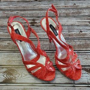 White house black market red strappy heels